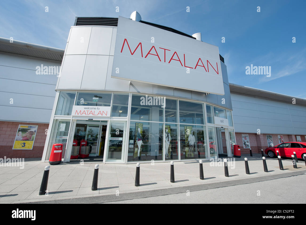 The storefront of the shoes, clothing and fashion retailer Matalan on a retail park, Manchester. (Editorial use Stock Photo