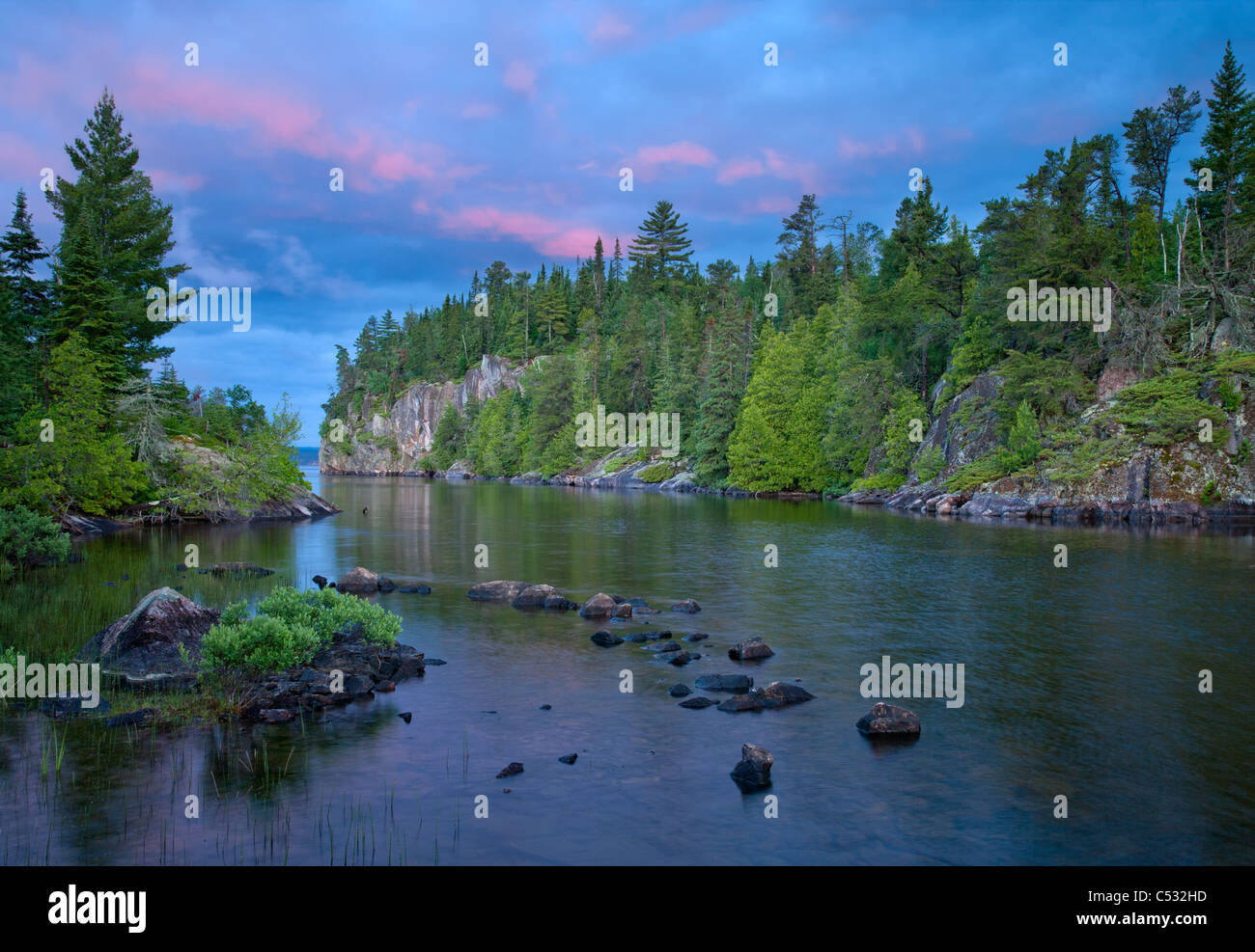 Sea Gull Lake at sunrise, Boundary Waters Canoe Area Wilderness, Superior National Forest, Minnesota Stock Photo