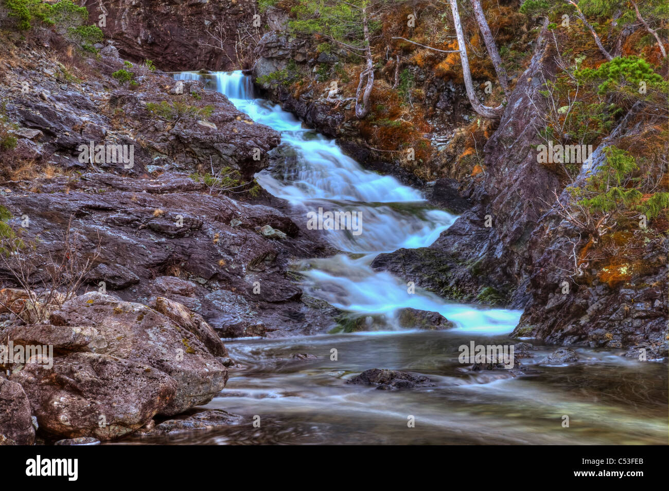 Scenic of a waterfall on Annette Island near Metlakatla, Inside Passage, Southeast Alaska, Spring. HDR - Stock Image