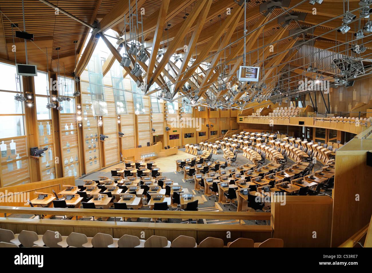 The Debating Chamber Of The Scottish Parliament Edinburgh Scotland Stock Photo