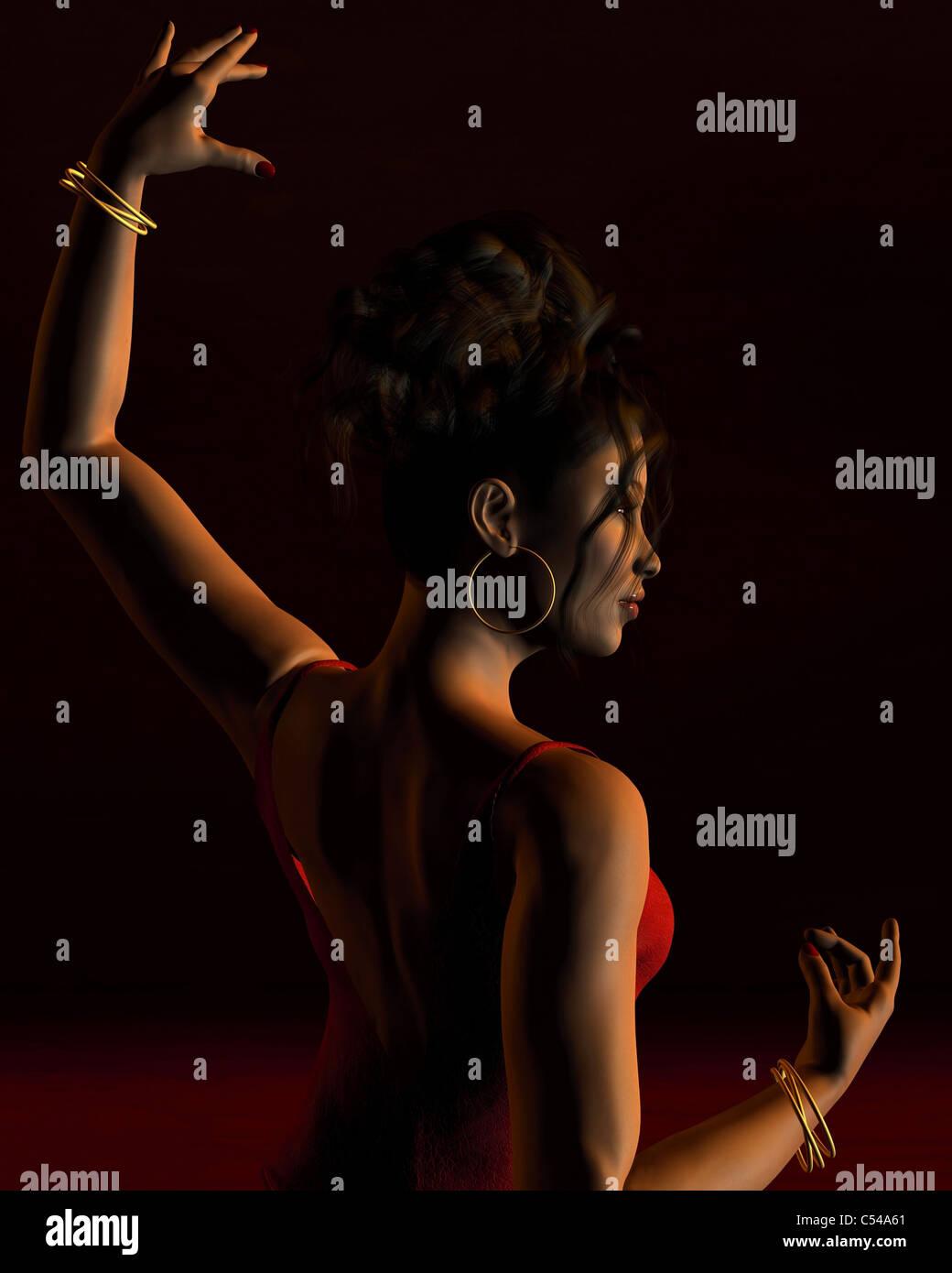 Spanish Flamenco Dancer on a dark stage - 1 - Stock Image
