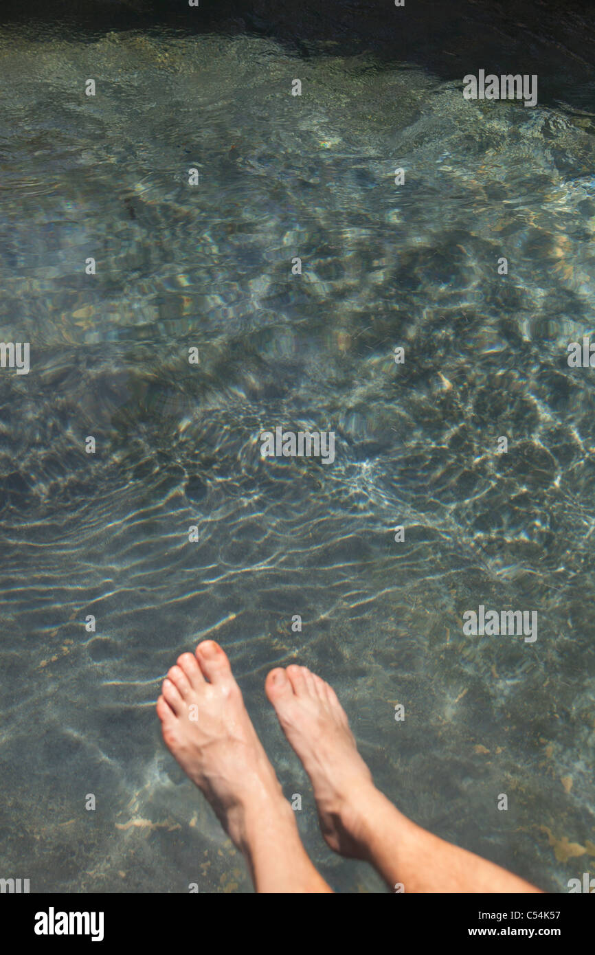 Low section view of human leg in water - Stock Image