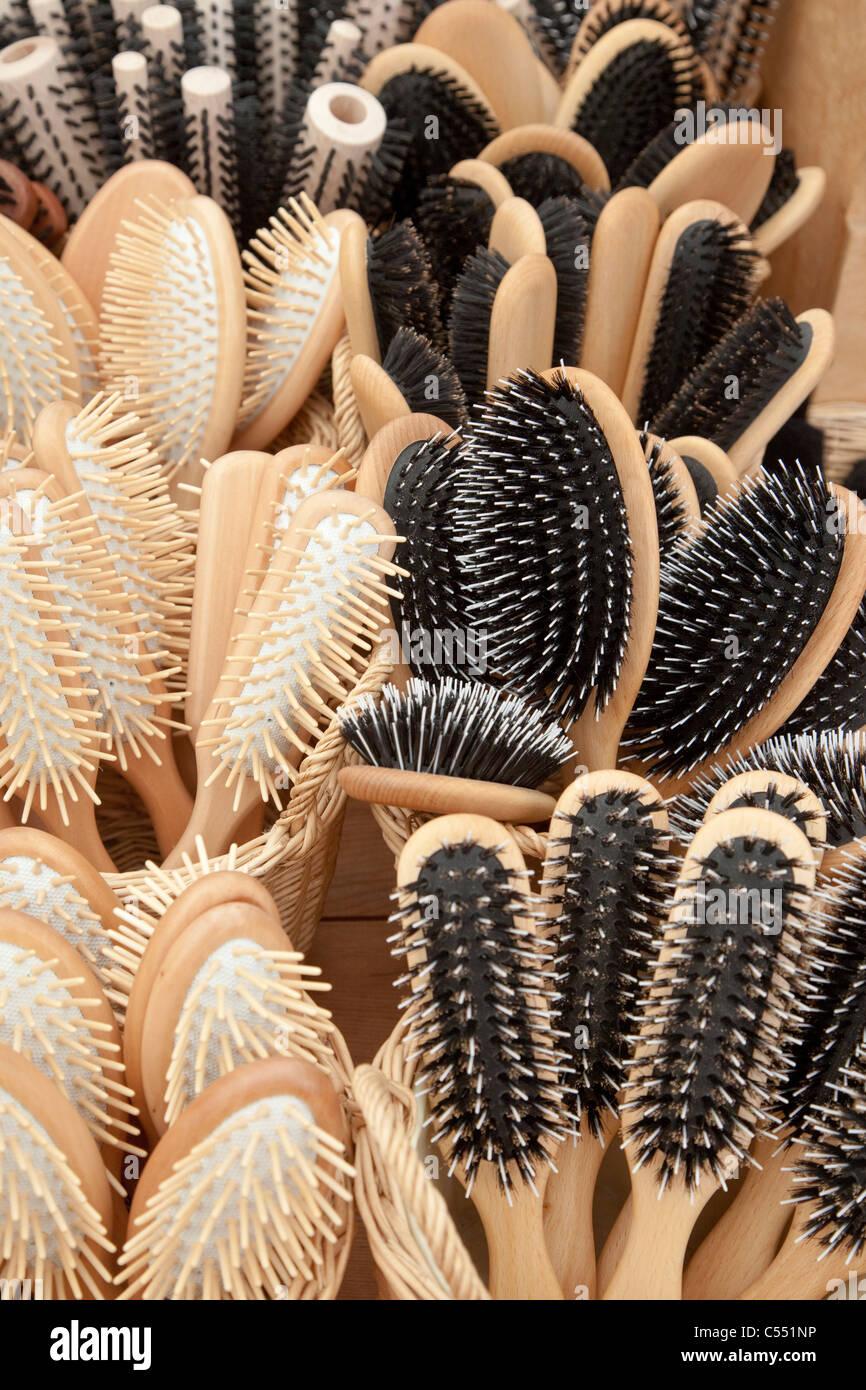 Hair brushes with natural bristles - Haarbürsten mit Naturborsten - Stock Image