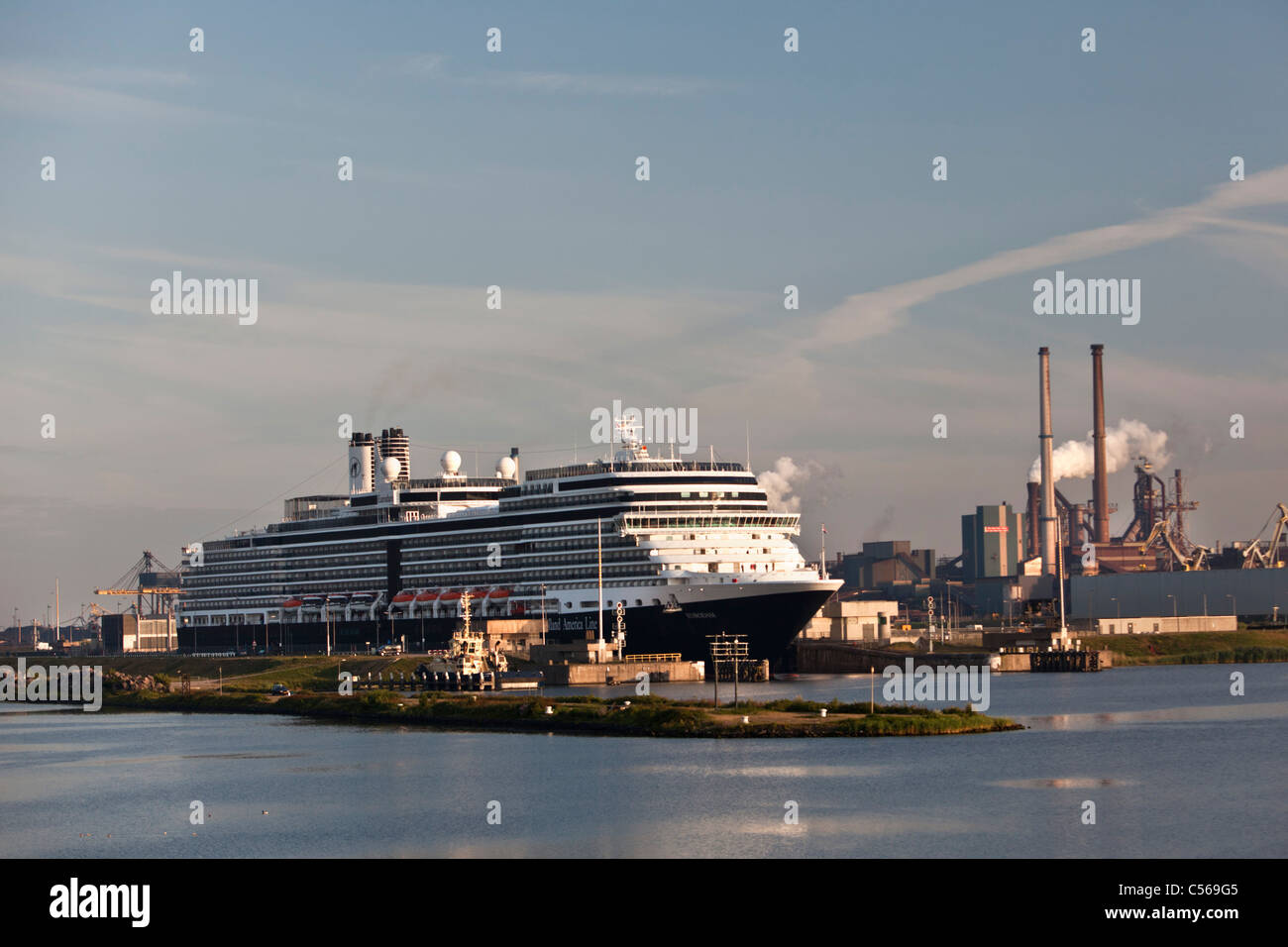 The Netherlands, IJmuiden, Eurodam cruise ship, belonging to Holland America Line, in locks of North Sea Canal. - Stock Image