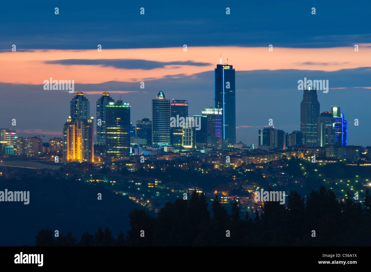 Skylines at night in istanbul,Turkey - Stock Image