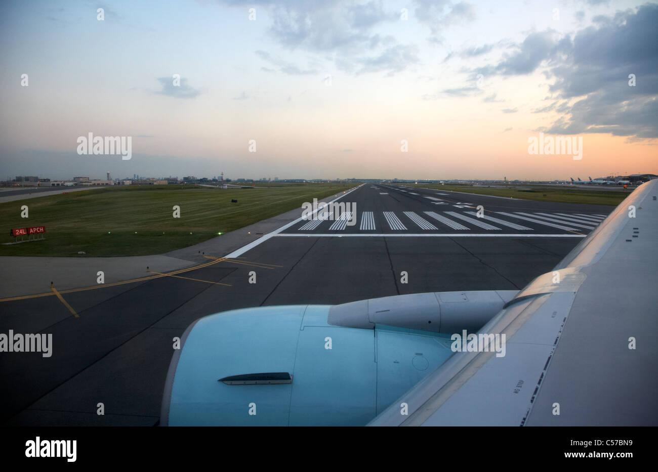 air canada aircraft taxiing past runway at Toronto Pearson International Airport Ontario Canada - Stock Image