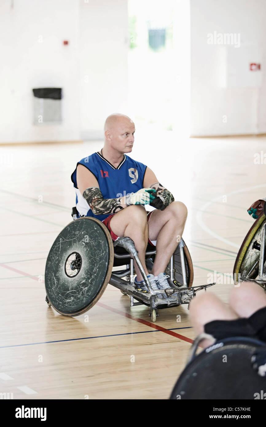 Para rugby player in sports hall - Stock Image