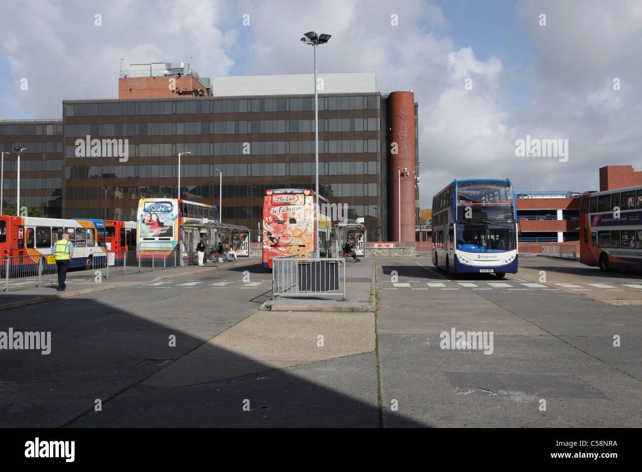Folkestone Bus Station and Saga Building - Stock Image