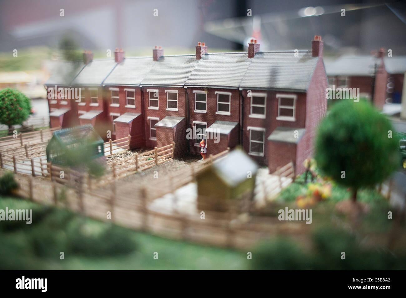 Row of model houses - Stock Image