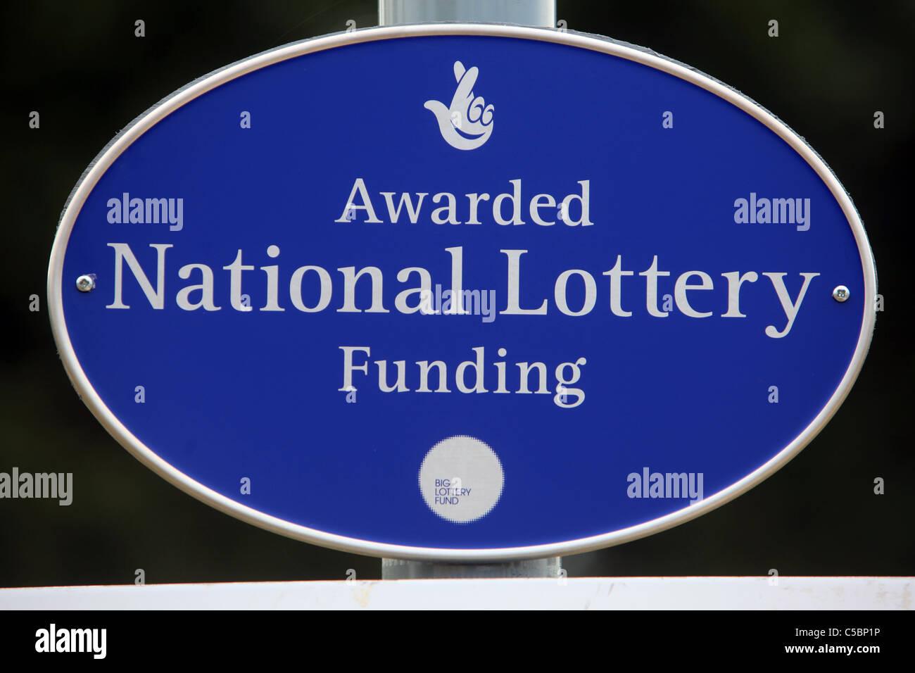 National Lottery Awarded Funding signage, UK - Stock Image