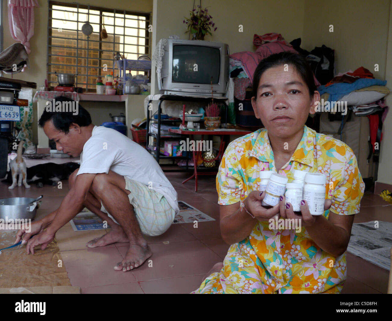 Cambodia Hiv Couple Making Handicrafts Woman Holding Her Stock