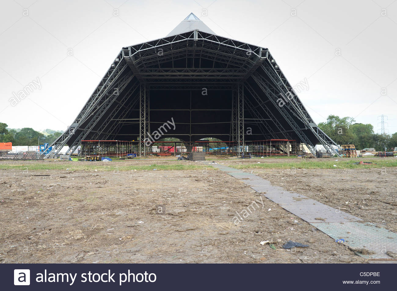 The Pyramid stage at Glastonbury festival site, nine days after the last 2011 performance. Somerset, UK. Stock Photo