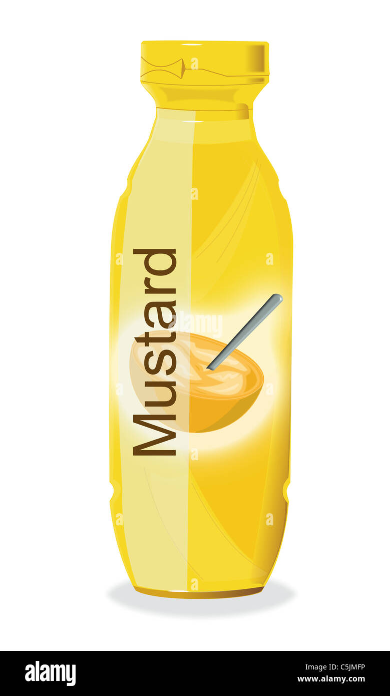 Drawing of a bottle of Mustard. - Stock Image
