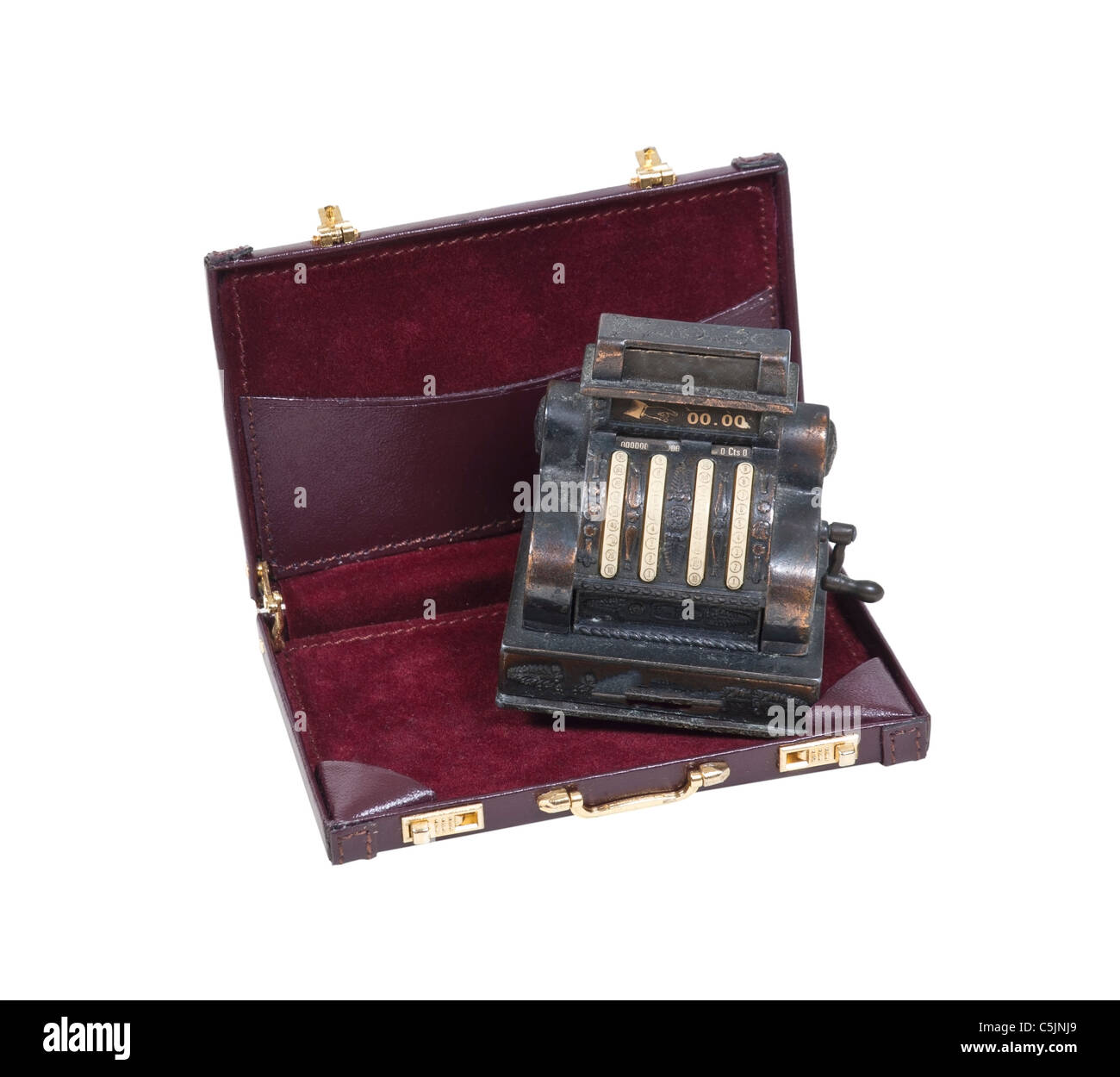Business sales shown by an antique cash register used to store money for business transactions in a briefcase - - Stock Image