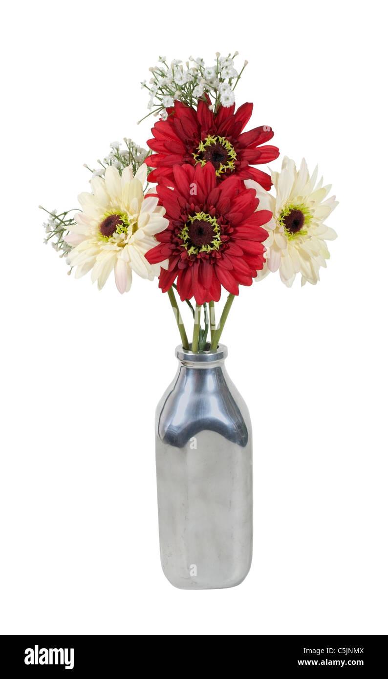 Silk flowers in a retro style silver milk bottle used for delivering silk flowers in a retro style silver milk bottle used for delivering milk path included mightylinksfo