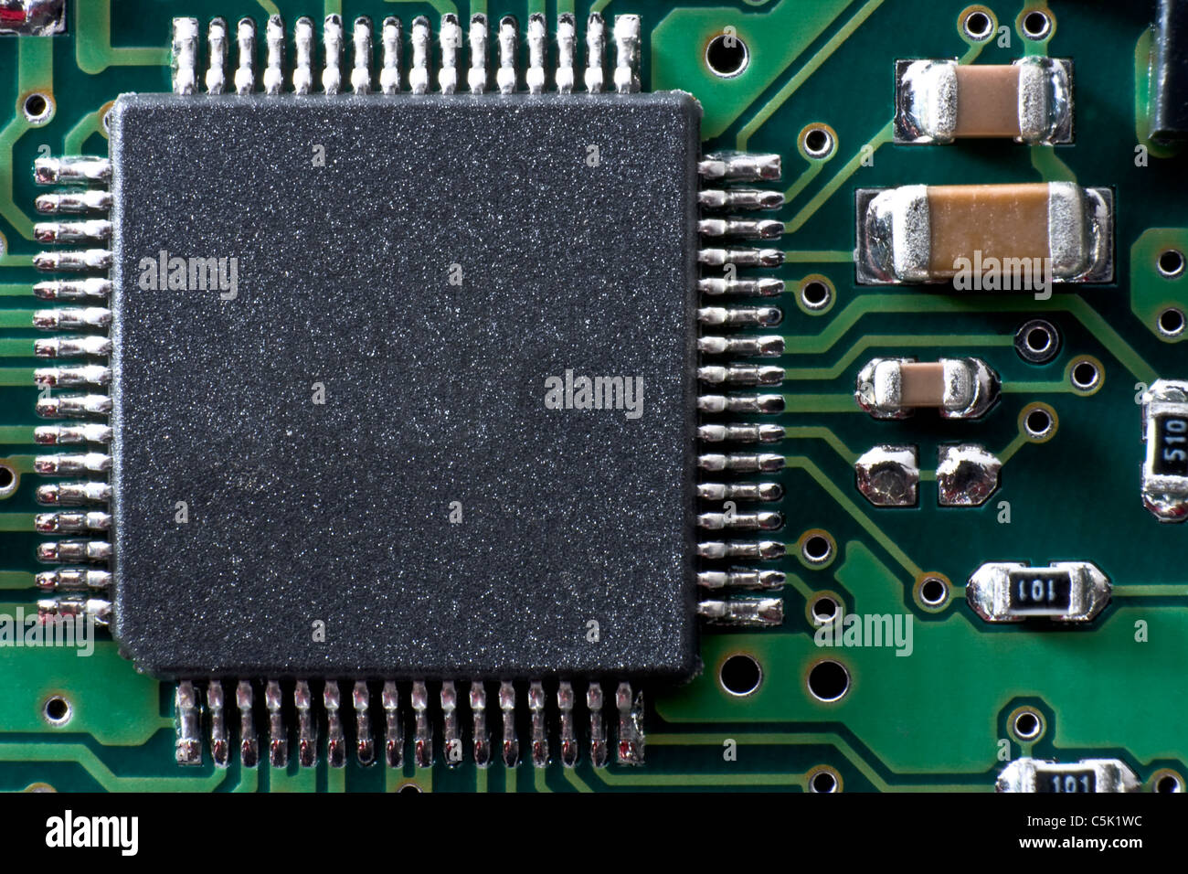 green circuit board with ic and other electronic components space rh alamy com  Circuit Board with Binary