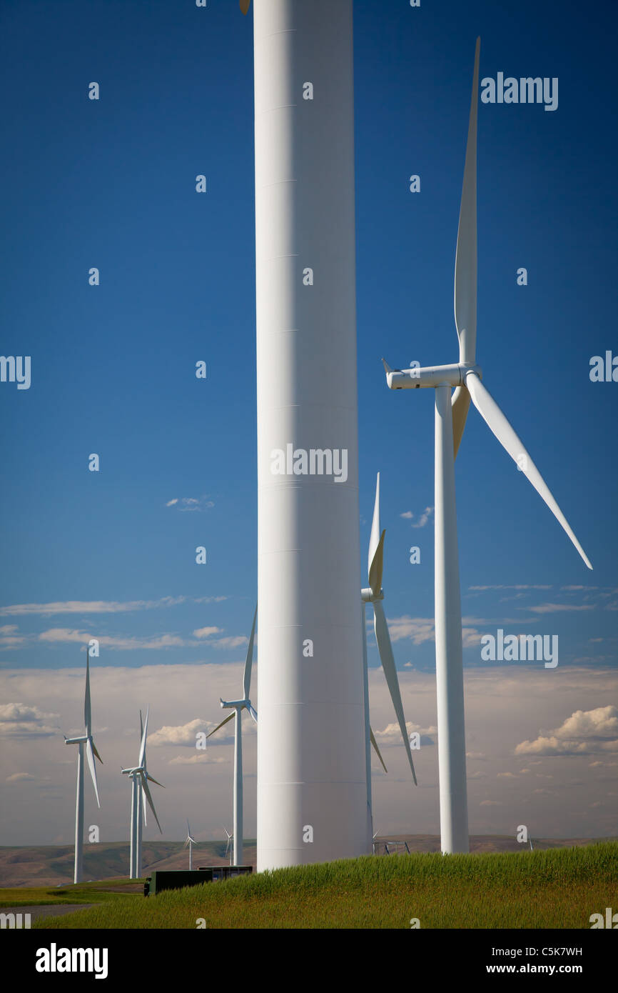 Wind turbines in the Lower Snake River Wind Energy Project - Stock Image