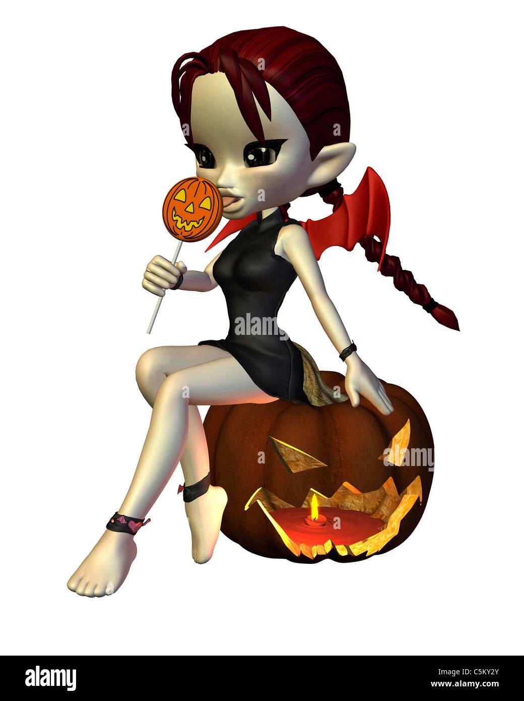 Cute Toon Halloween Devil with Lollipop and Pumpkin - Stock Image