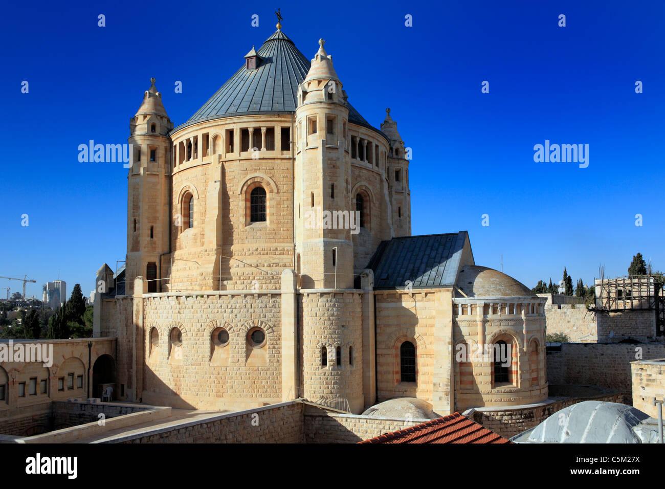Assumption church on the Sion mount (1898-1910), Jerusalem, Israel - Stock Image