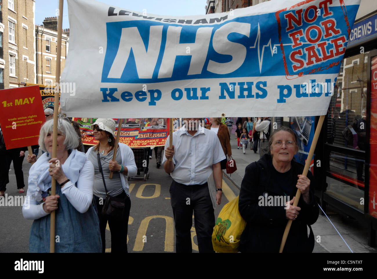 NHS WORKERS IN DEMONSTRATION AGAINST PUBLIC SPENDING CUTS - Stock Image