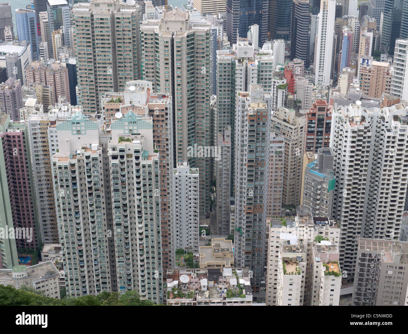 View Looking Down From High Above Tall Hong Kong Apartment Blocks   Stock  Image