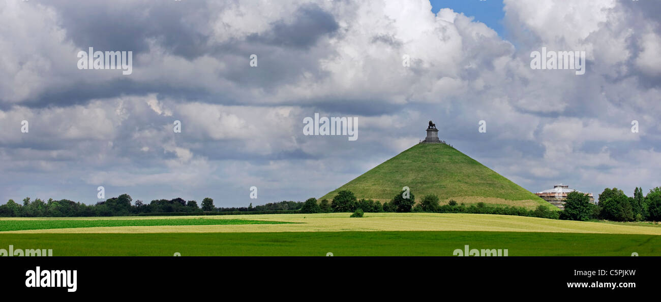 The Lion Hill, which is the main memorial monument of the Battle of Waterloo, Eigenbrakel, Belgium - Stock Image