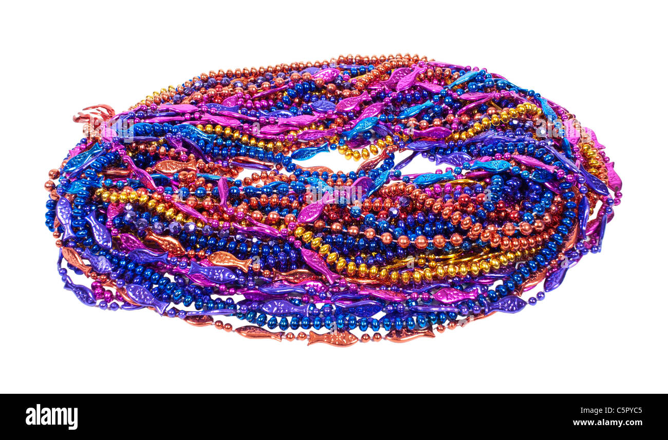 A variety of Mardi Gras Beads of bright colors and design - path included - Stock Image