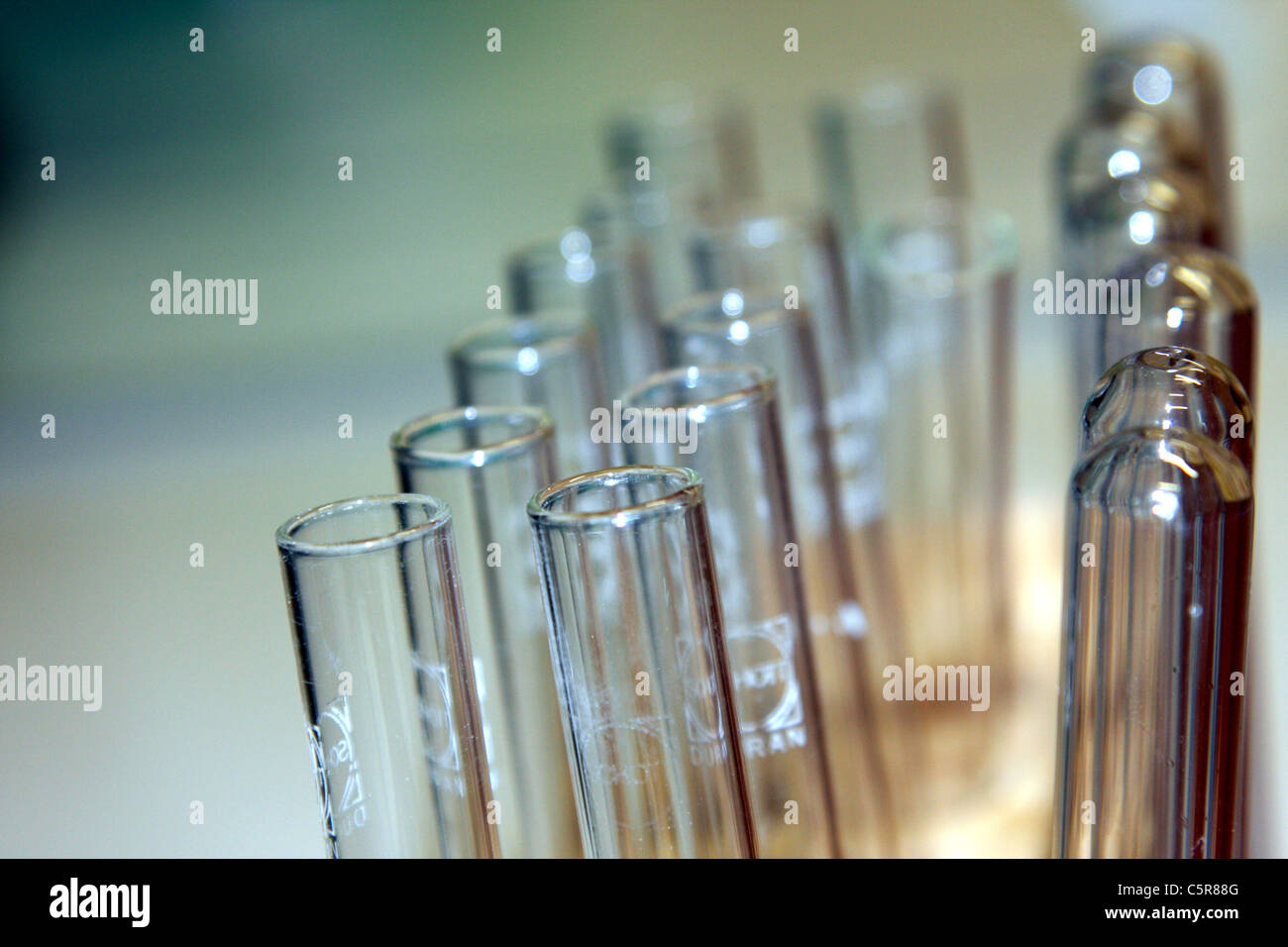 Close-up of Test Tubes in a Chemistry Lab - Stock Image
