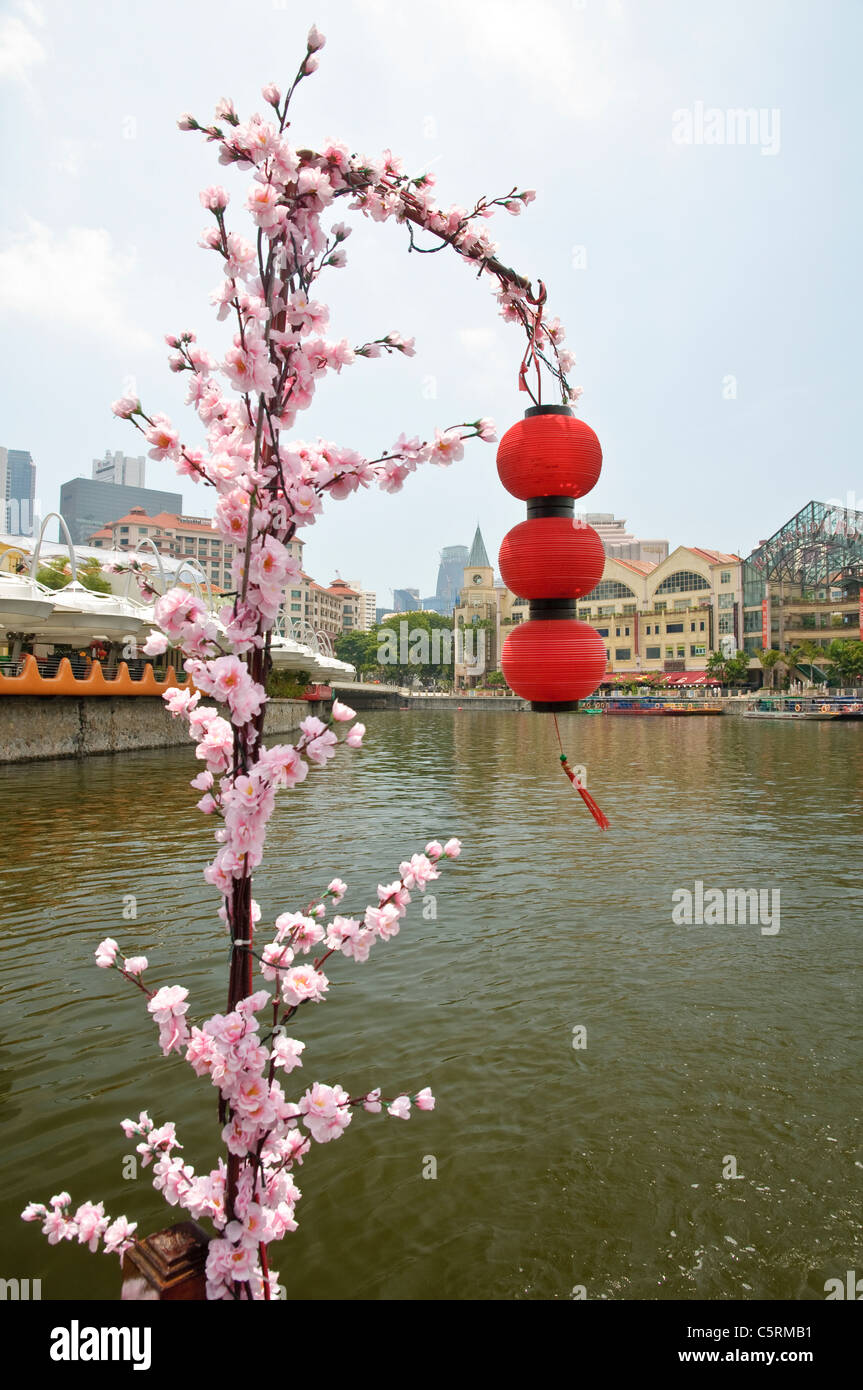 Red lanterns and flowers found on a boat trip along Singapore River at the popular and trendy Clarke Quay district, - Stock Image