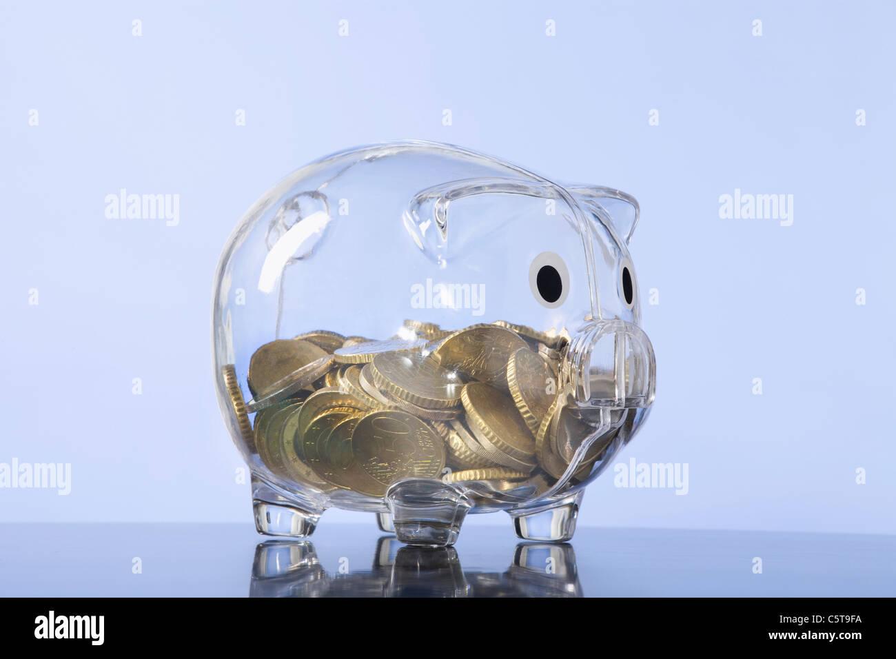 Money in piggy bank - Stock Image