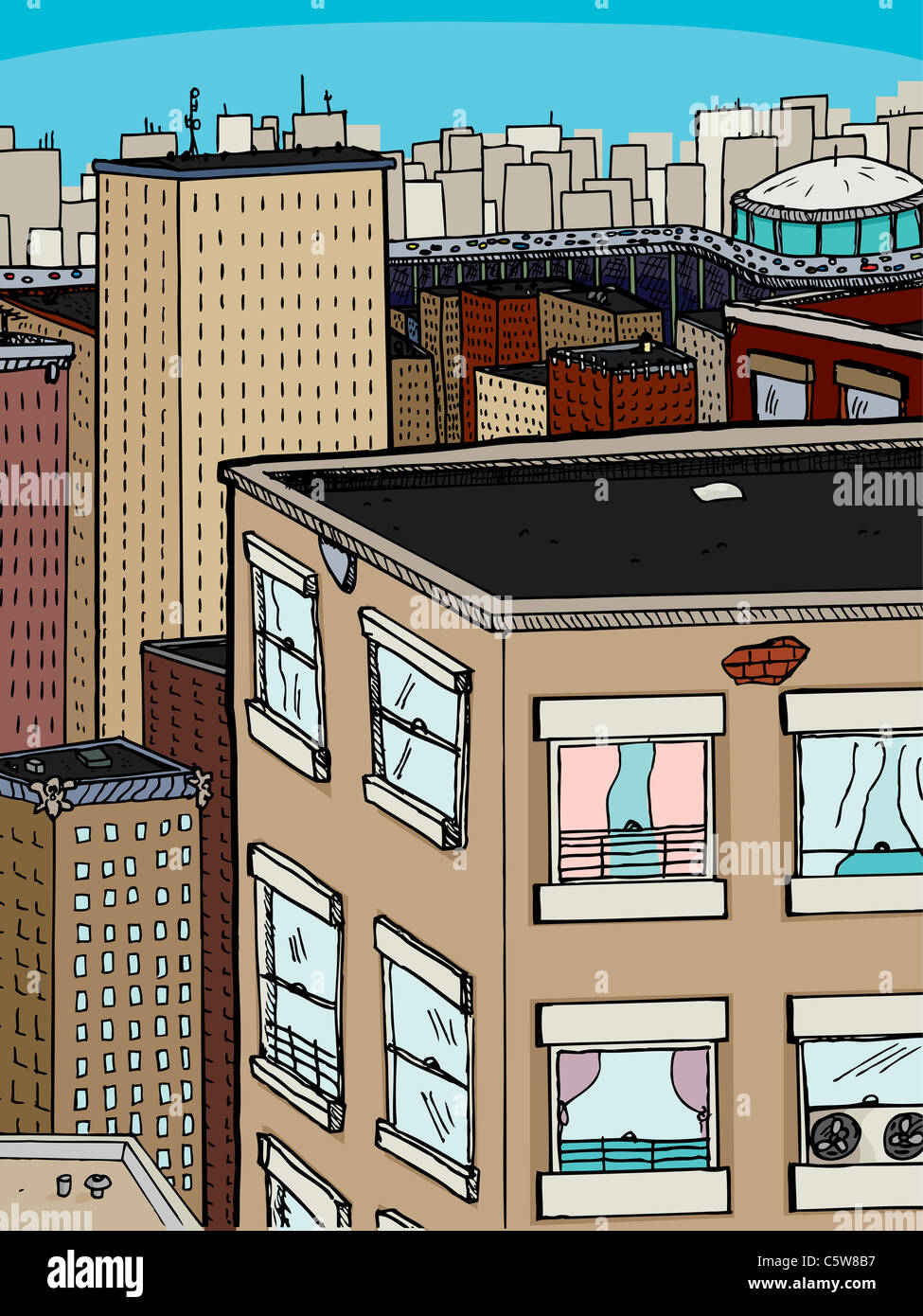 Dense urban scene with old apartments, offices and stadium with busy expressway - Stock Image
