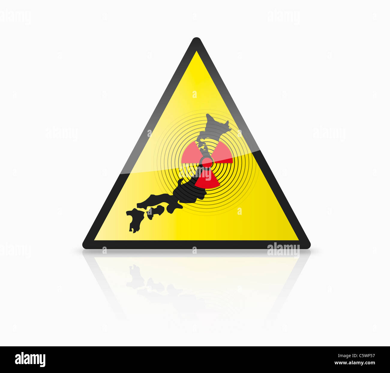 Close up of illustration of atom sign with japan map on triangle - Stock Image