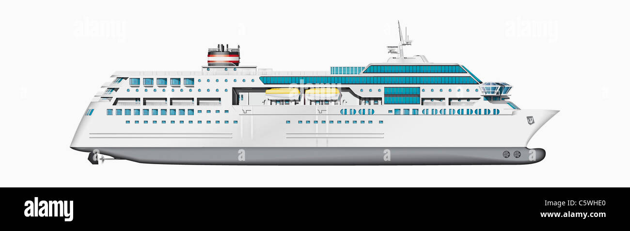 Illustration of cruise ship against white background, close up - Stock Image
