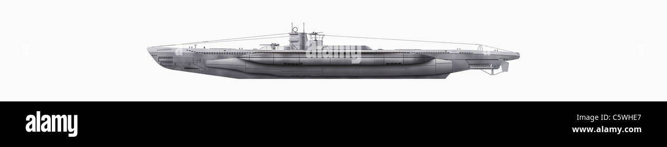 Illustration of submarine against white background, close up - Stock Image