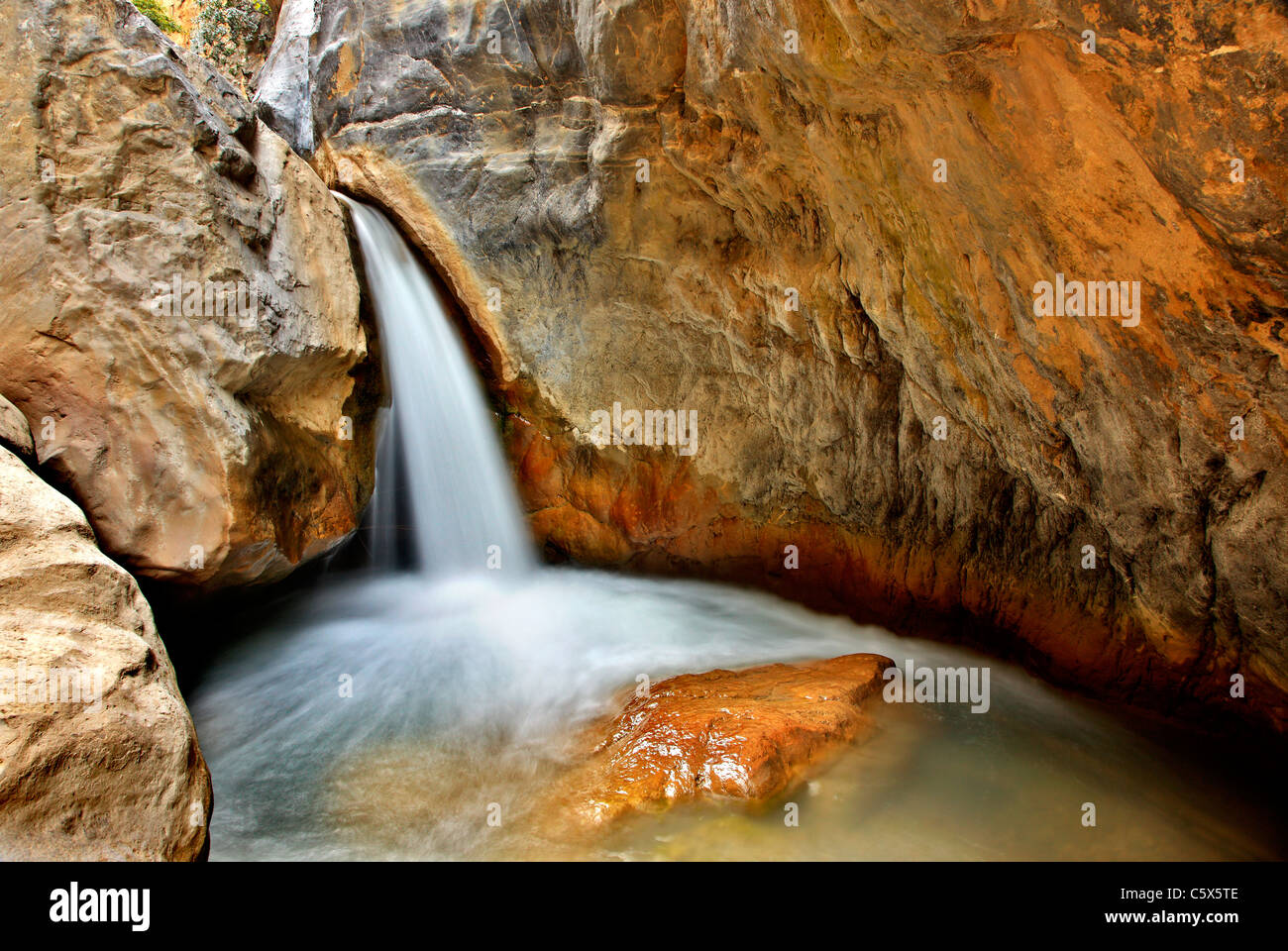 One of the waterfalls in Sarakina Gorge close to Mythoi village, about 20 km west of Ierapetra, Lasithi, Crete, - Stock Image