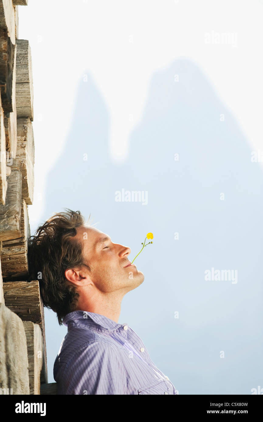 Italy, South Tyrol, Seiseralm, Man leaning against pile of wood - Stock Image