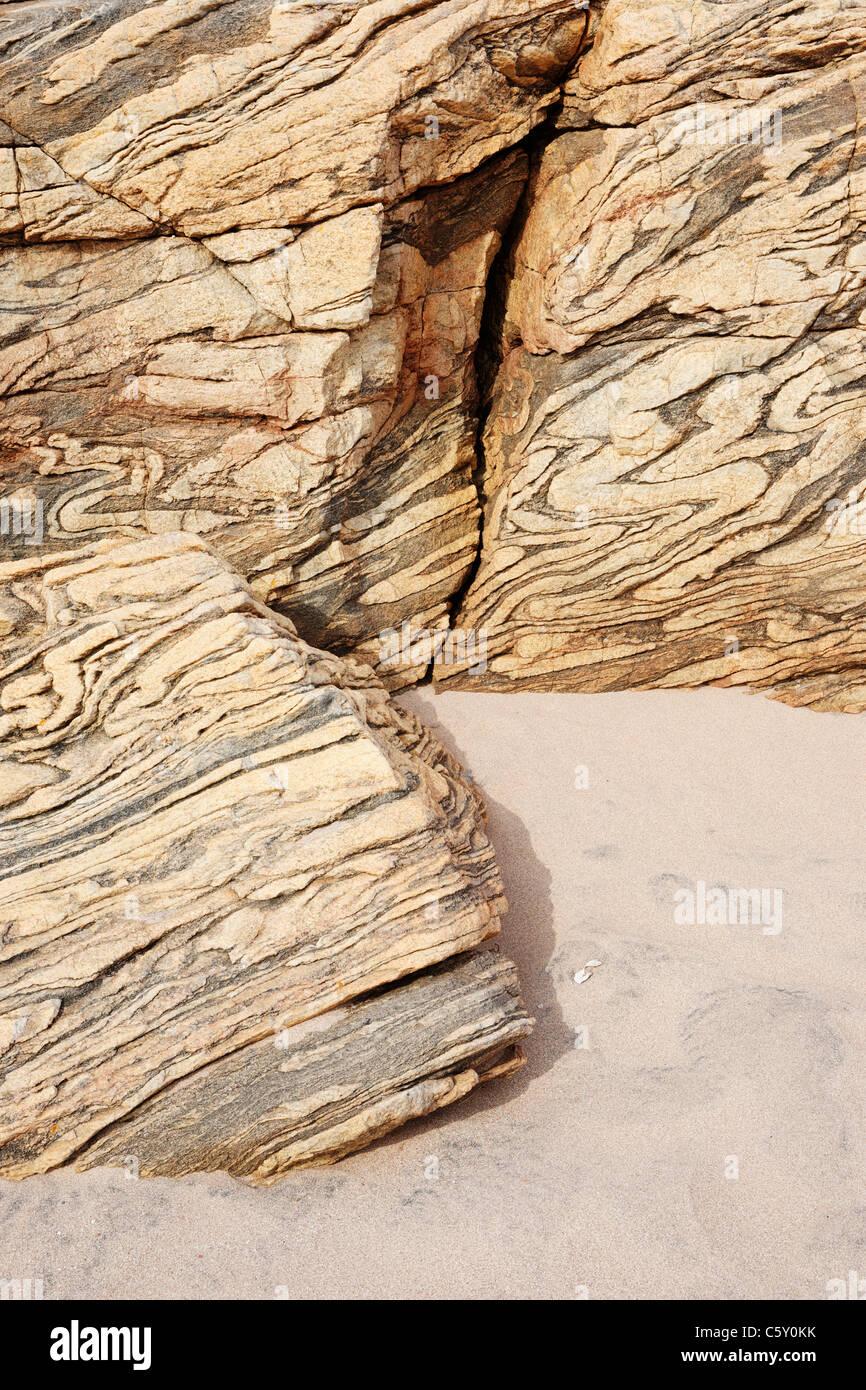 Lewisian Gneiss at Sandwood Bay, Sutherland, Highland, UK - Stock Image