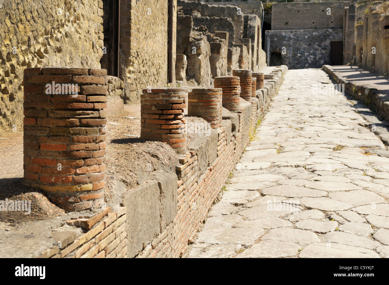Street (Cardo V Superiore) in Herculaneum - Stock Image
