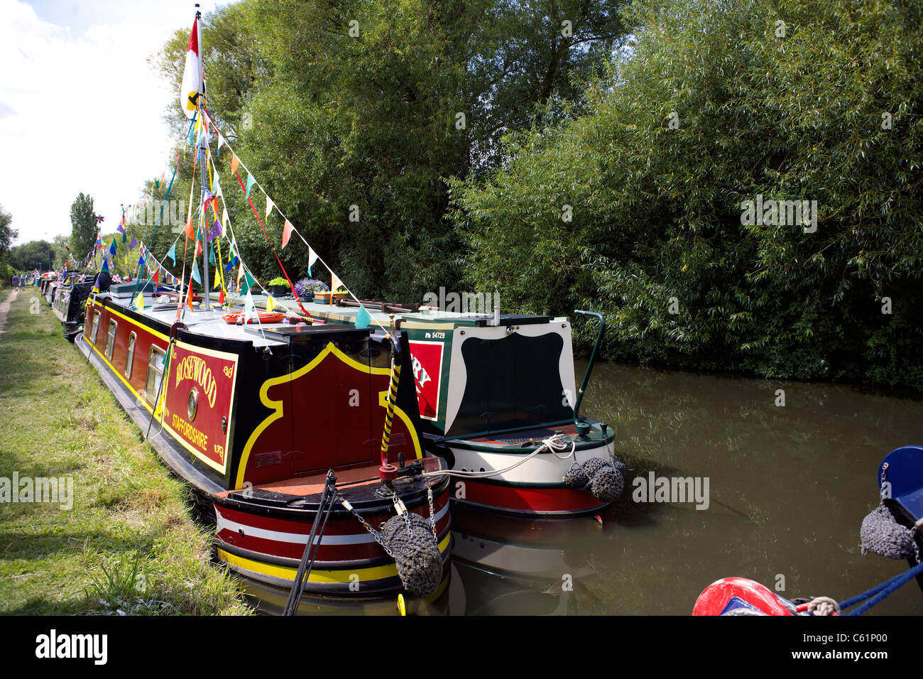 Narrowboat Rosewood moored on the Trent and Mersey Canal during the 2011 Inland Waterways Festival at Burton on - Stock Image