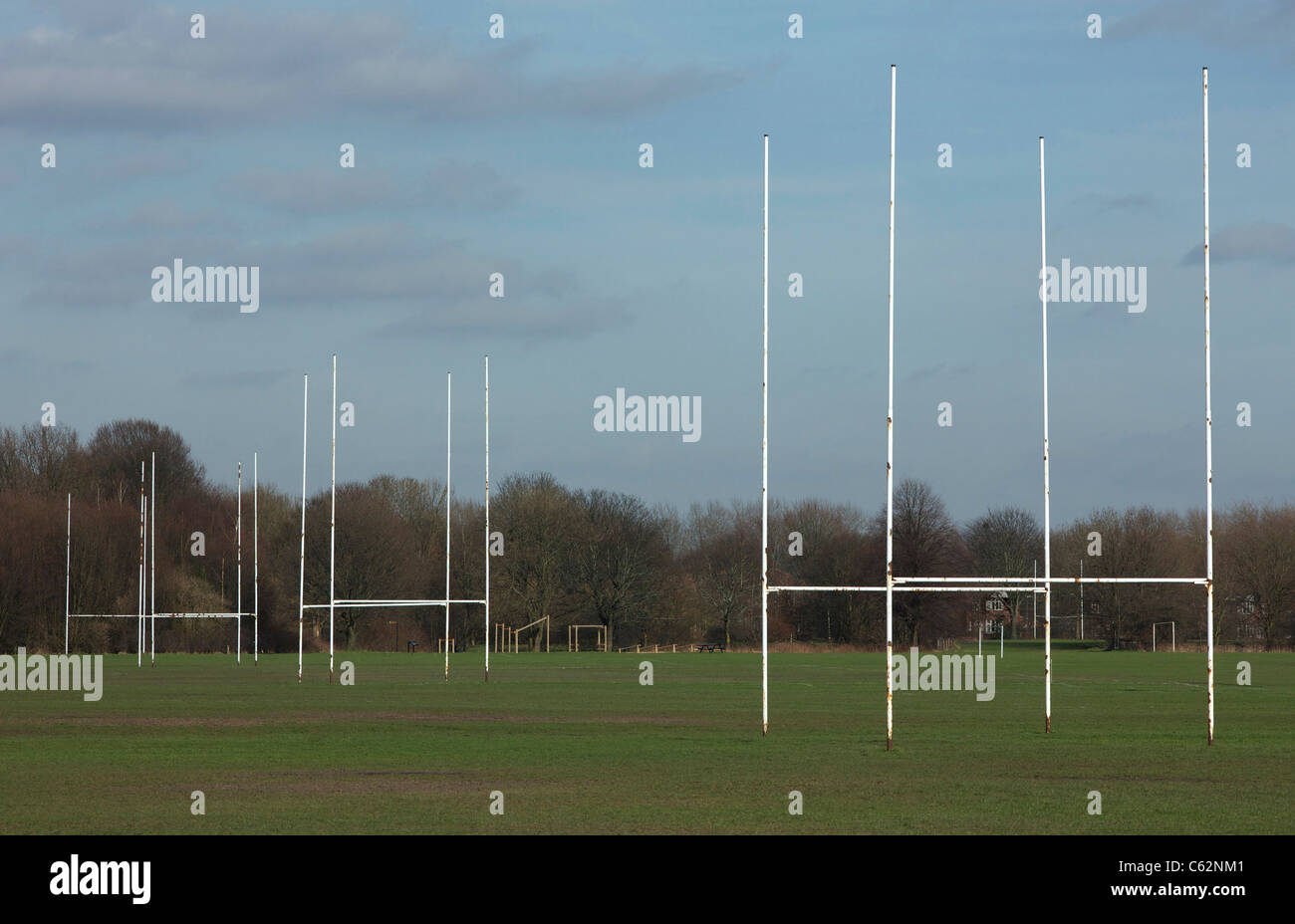 Rugby posts on adjoining pitches - Stock Image
