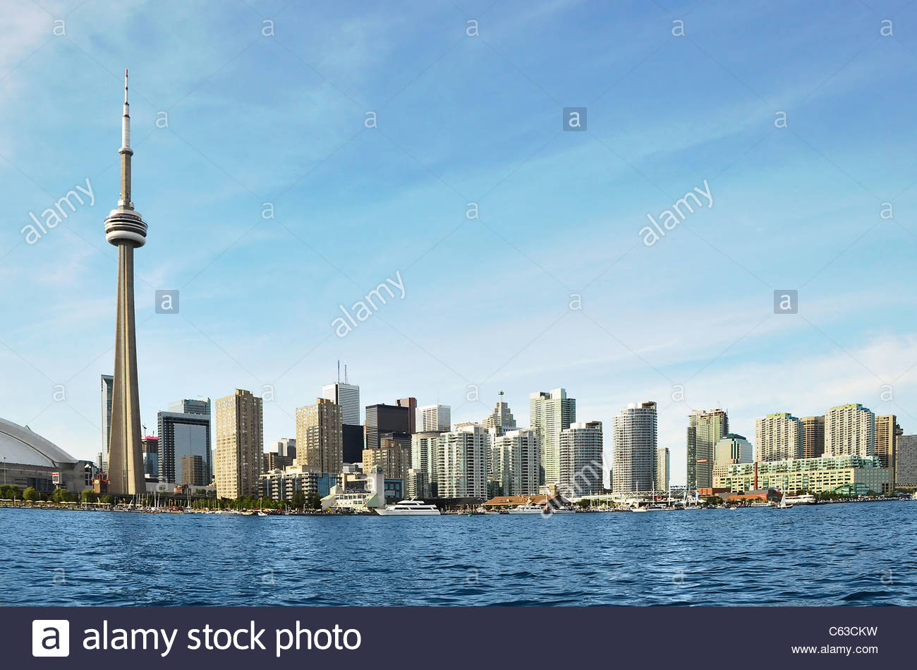 Toronto Skyline. Broad view of the majestic metropolis. Display of modern architecture. CN Tower as part of the - Stock Image