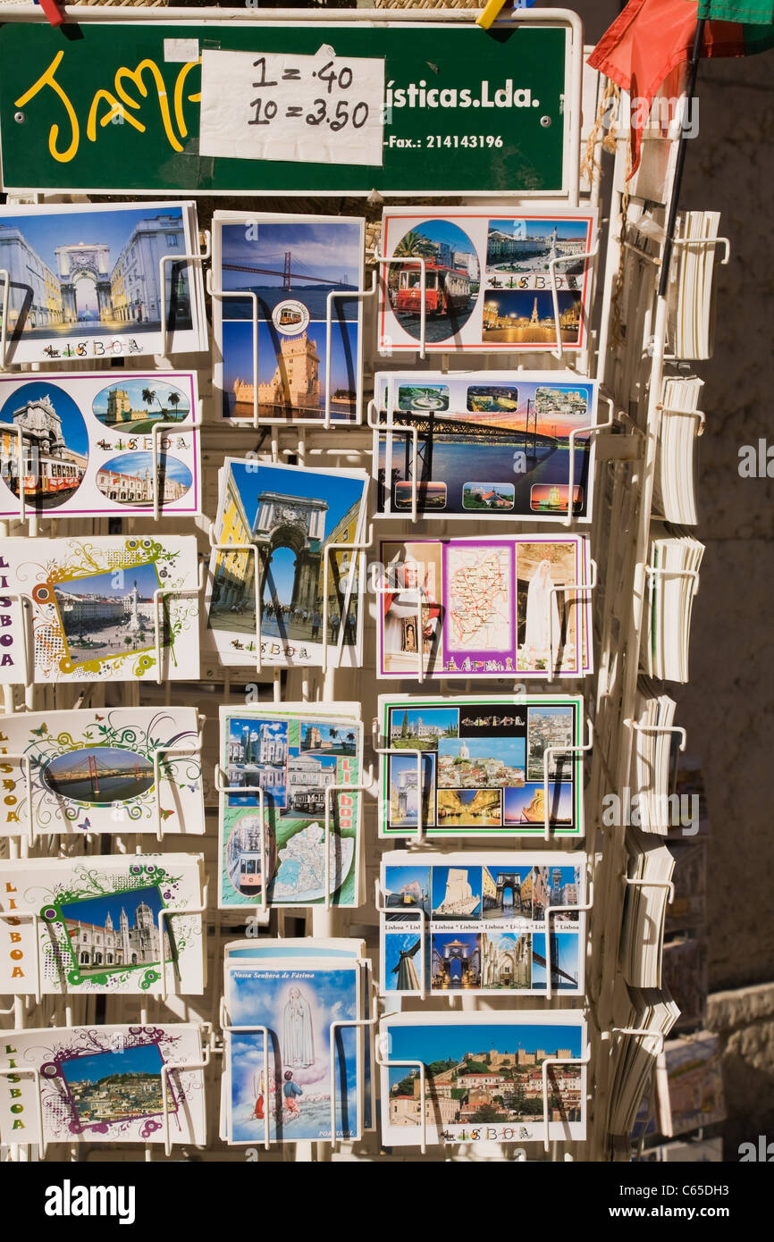 Postcards for sale, Lisbon, Portugal - Stock Image