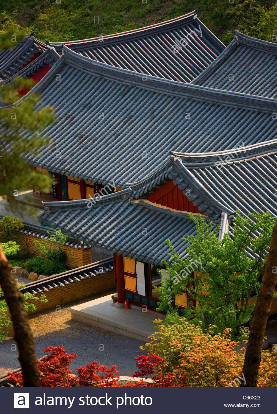 Temple roofs in South Korea - Stock Image
