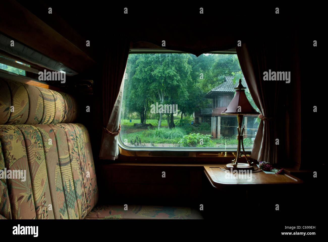View from interior compartment, Orient Express Train. From Bangkok Thailand to Kuala Lumpur Stock Photo