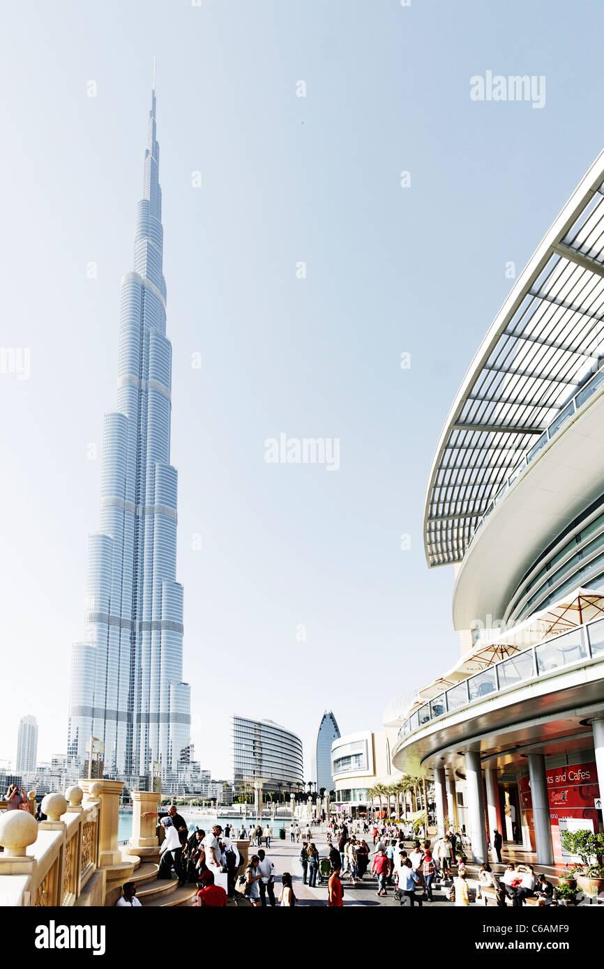 Burj Khalifa, the tallest building in the world, 828m high, and the outside area of Dubai Mall, Dubai Business Bay, - Stock Image