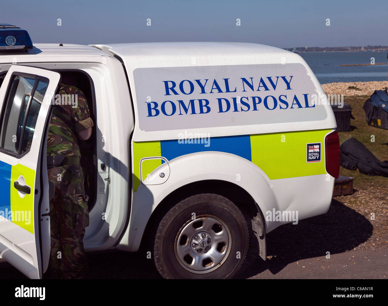Royal Navy Bomb Disposal vehicle van emergency response diffuse make safe blow up professional army trained secure - Stock Image