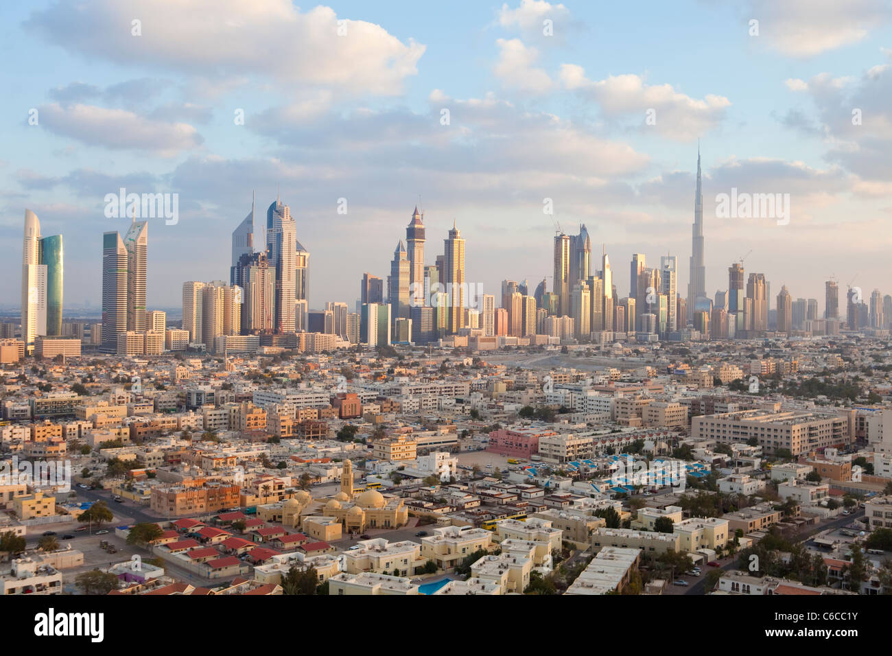 United Arab Emirates, Dubai, elevated view of the new Dubai skyline including the Burj Khalifa - Stock Image