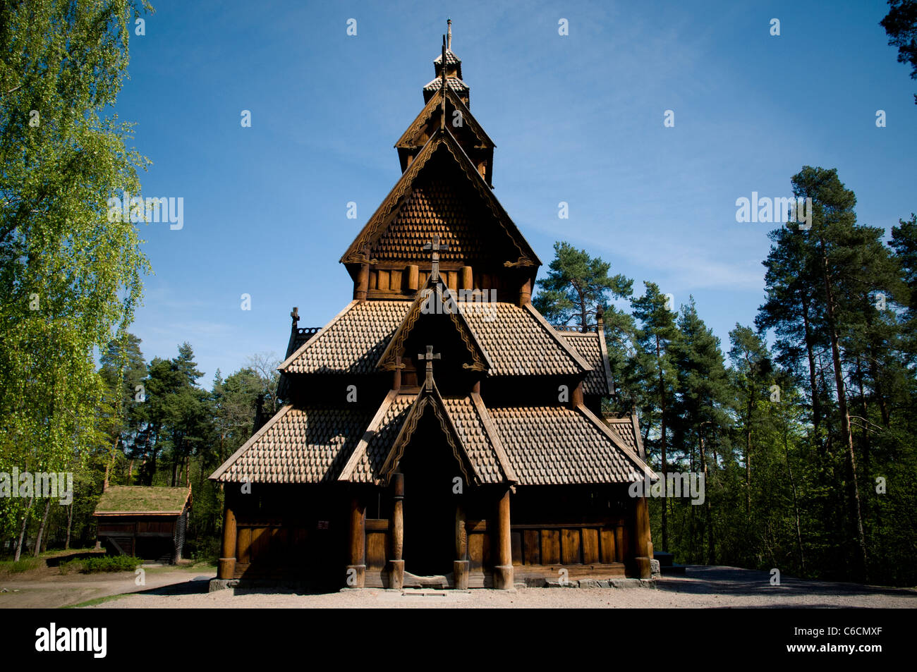 The Gol stave church (Gol stavkirke) in the Norwegian Museum of Cultural History of Oslo - Stock Image