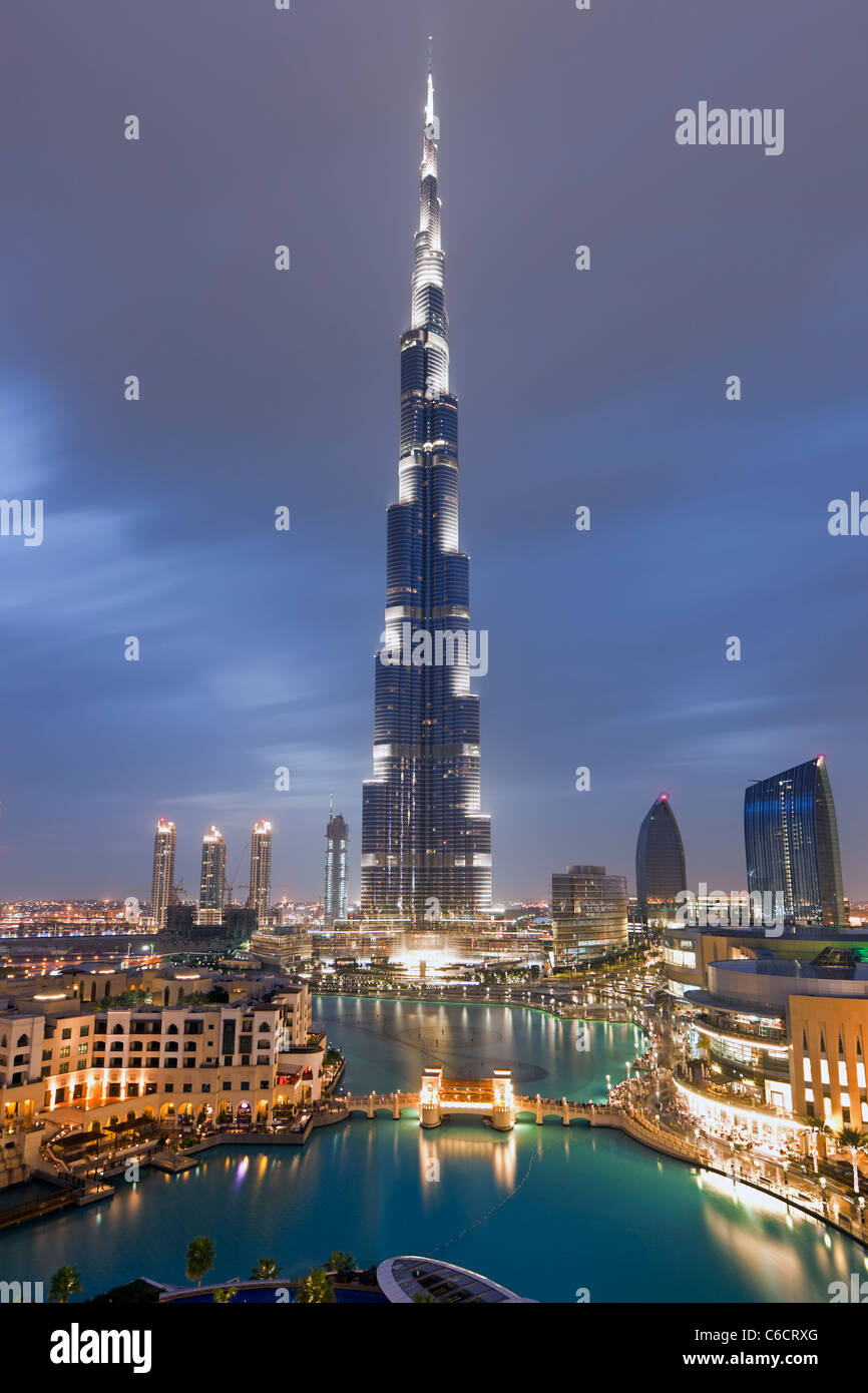 The Burj Khalifa, completed in 2010, the tallest man made structure in the world, Dubai, UAE - Stock Image