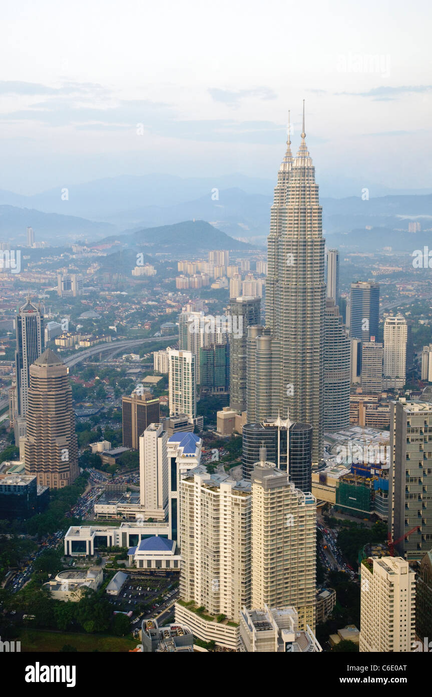 Petronas Twin Towers, view from Menara TV Tower, fourth largest telecommunications tower in the world, Kuala Lumpur, - Stock Image